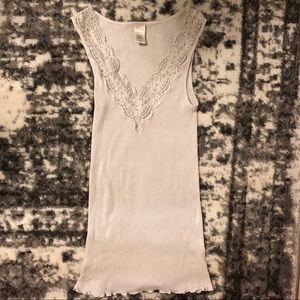Banana Republic Off White Lace Tank Top V-Neck